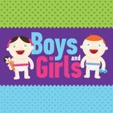 Vectorjongen en meisje die met speelgoed glimlachen Stock Afbeelding