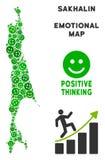 Vectorjoy sakhalin island map mosaic van Glimlachen vector illustratie