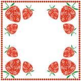 Vectorkaart met bessen Lege vierkante vorm met sieraardbeien en grens met punten Decoratief kader Reeks Kaarten, Stock Afbeeldingen