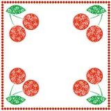 Vectorkaart met bessen Lege vierkante vorm met sierkersen, bladeren en grens met punten Stock Afbeeldingen