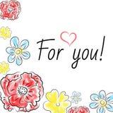 Vectorkaart met bloemenpapaver, sleutelbloem Stock Afbeeldingen