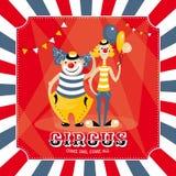 Vectorkaart met clowns Stock Fotografie