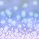 Vectorkaart met de lichten en de sneeuw van Chrismas Stock Afbeeldingen