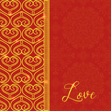 Vectorkaart met Decoratieve Harten Vector gouden achtergrond Et Royalty-vrije Stock Afbeeldingen