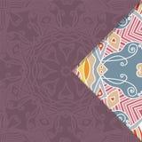 Vectorkaart met mandala Het kan voor prestaties van het ontwerpwerk noodzakelijk zijn stock illustratie
