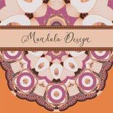 Vectorkaart met mandala Het kan voor prestaties van het ontwerpwerk noodzakelijk zijn Etnisch decoratief e stock illustratie