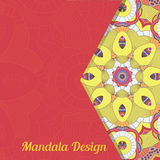 Vectorkaart met mandala Het kan voor prestaties van het ontwerpwerk noodzakelijk zijn Etnische decoratief Stock Foto's