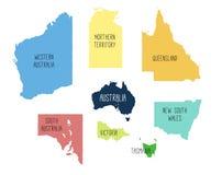 Vectorkaart van Australië met gescheiden gebieden Stock Foto's