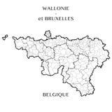 Vectorkaart van de Gebieden van Wallonia en Brussel Hoofdstad, België royalty-vrije illustratie