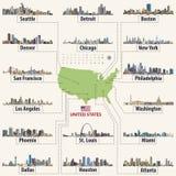 Vectorkaart van de Verenigde Staten van Amerika met grootste steden` horizonnen Stock Afbeelding