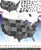 Vectorkaart van Verenigde Staten Royalty-vrije Stock Afbeelding