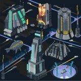 Vectorkaartelementen van futuristische neonoirstad in de illustratie cyberpunk scène van colorfuledystopia royalty-vrije illustratie