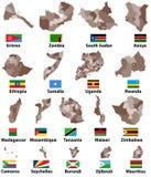 Vectorkaarten en vlaggen van de Oostelijke landen van Afrika met de administratieve grenzen van afdelingengebieden stock illustratie