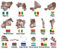 Vectorkaarten en vlaggen van de Westelijke landen van Afrika met de administratieve grenzen van afdelingengebieden vector illustratie