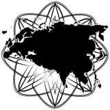 Vectorkaarteurasia continent in het vliegtuig vector illustratie