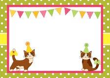 Vectorkaartmalplaatje met Katten en Bunting op Polka Dot Background royalty-vrije illustratie