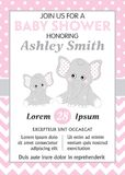 Vectorkaartmalplaatje met Leuke Olifanten voor de Douche van het Babymeisje royalty-vrije illustratie