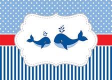 Vectorkaartmalplaatje met Leuke Walvissen op Stip en Strepenachtergrond Vectorwalvis Royalty-vrije Stock Fotografie