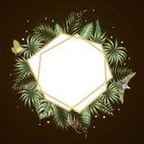 Vectorkadermalplaatje met tropische bladeren royalty-vrije illustratie