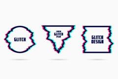 Vectorkaders met glitch effect Geometrische vormen - cirkel, driehoek en vierkant met TV-vervormingsgevolgen Vector royalty-vrije illustratie
