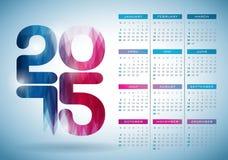Vectorkalender 2015 illustratie met abstract kleurenontwerp op duidelijke achtergrond Royalty-vrije Stock Foto's