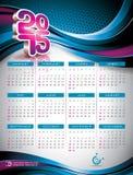 Vectorkalender 2015 illustratie op abstracte kleurenachtergrond Stock Afbeelding