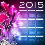 Vectorkalender 2015 illustratie op abstracte kleurenachtergrond Stock Fotografie