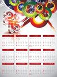 Vectorkalender 2015 illustratie op abstracte kleurenachtergrond Royalty-vrije Stock Foto