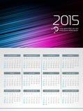 Vectorkalender 2015 illustratie op abstracte kleurenachtergrond Royalty-vrije Stock Foto's