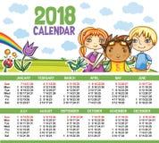 Vectorkalender 2018 jaar Royalty-vrije Stock Afbeeldingen