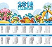 Vectorkalender 2018 jaar Beginzondag Stock Afbeeldingen