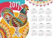 Vectorkalender 2017 Kleurrijke haan Royalty-vrije Stock Afbeeldingen