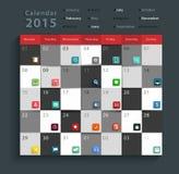 Vectorkalender 2015 moderne bedrijfs vlakke geplaatste pictogrammen Royalty-vrije Stock Afbeeldingen