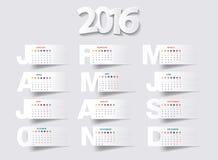 Vectorkalender 2016 nieuw jaar stock illustratie