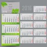 Vectorkalender 2016 - Ontwerper voor van drie maanden Stock Foto