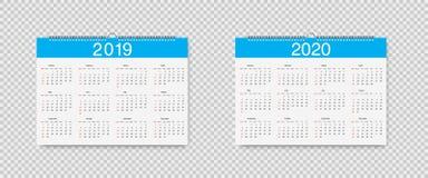 Vectorkalender van 2019 en 2020 jaar Malplaatje Losbladige Kalenders voor 2019 en 2020 met wijzersvakantie Weekbegin  royalty-vrije illustratie