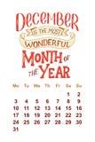 Vectorkalender voor 2 December 0 1 8 Hand getrokken het van letters voorzien citaten voor kalenderontwerp Royalty-vrije Stock Foto's