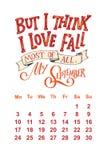 Vectorkalender voor 2 September 0 1 8 Hand getrokken het van letters voorzien citaten voor kalenderontwerp Royalty-vrije Stock Fotografie
