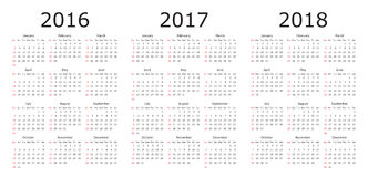 Vectorkalendermalplaatjes 2016, 2017, 2018 Royalty-vrije Stock Foto