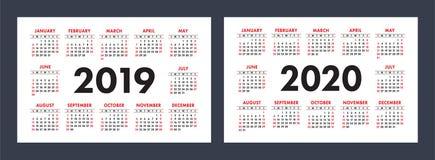 Vectorkalenders 2019 en 2020 jaar Fundamenteel minimalistic ontwerp royalty-vrije illustratie