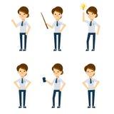 Vectorkarakters: de bureaudame in verschillend stelt Stock Afbeelding