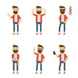 Vectorkarakters: hipster stelt de kerel in verschillende statisch Stock Foto's