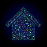 Vectorkarkas Mesh Kitchen Building met Lichte Vlekken voor Nieuwjaar vector illustratie