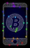 Vectorkarkas Mesh Mobile Bitcoin Bank met Spectrum Gekleurde Lichte Vlekken vector illustratie