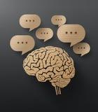 Vectorkarton van hersenen en bellentoespraak stock illustratie