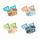 Vectorkartondoos met vleugels Leveringsembleem Stock Fotografie