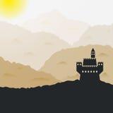 Vectorkasteel in de bergen stock illustratie