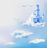 Vectorkasteel in de wolken Het paleis van de droomhemel Stock Afbeeldingen