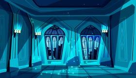 Vectorkasteelbalzaal bij nacht, gotische zaal royalty-vrije illustratie