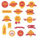 Vectorkentekensetiketten, stickers en linten Royalty-vrije Stock Foto's